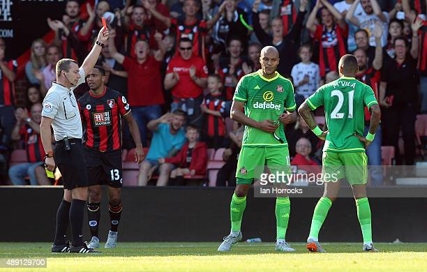 Younes Kaboul of Sunderland gets a red card during the Barclays Premier League match between Bournemouth and Sunderland at the Vitality Stadium on...