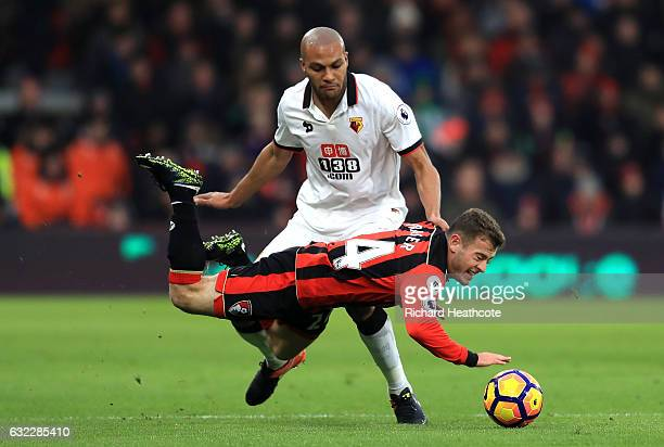 Younes Kaboul of Watford fouls Ryan Fraser of AFC Bournemouth during the Premier League match between AFC Bournemouth and Watford at Vitality Stadium...