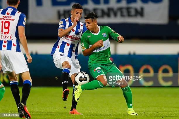 Younes Namli of sc Heerenveen Hachim Mastour of PEC Zwolle during the Dutch Eredivisie match between sc Heerenveen and PEC Zwolle at Abe Lenstra...