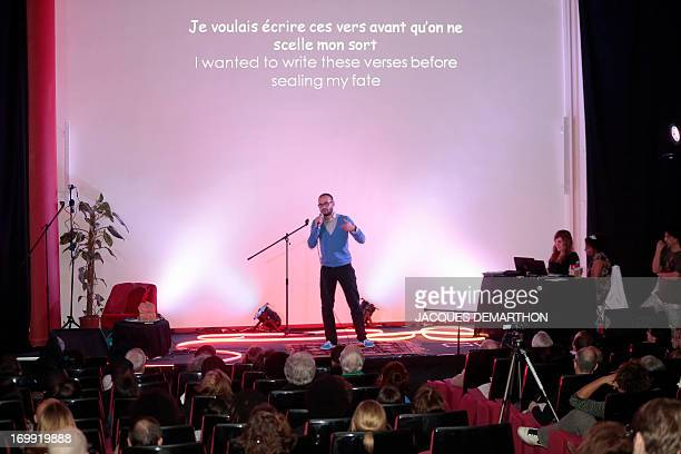 Youness Mernissi from Belgium takes part on June 4 2013 in Paris in the first round of the World Cup of poetry slam held until June 9 AFP PHOTO /...