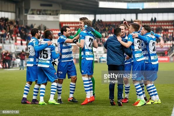 Youness Mokhtar of PEC Zwolle Hervin Ongenda of PEC Zwolle Dirk Marcellis of PEC Zwolle goalkeeper Mickey van der Hart of PEC Zwolle Django Warmerdam...