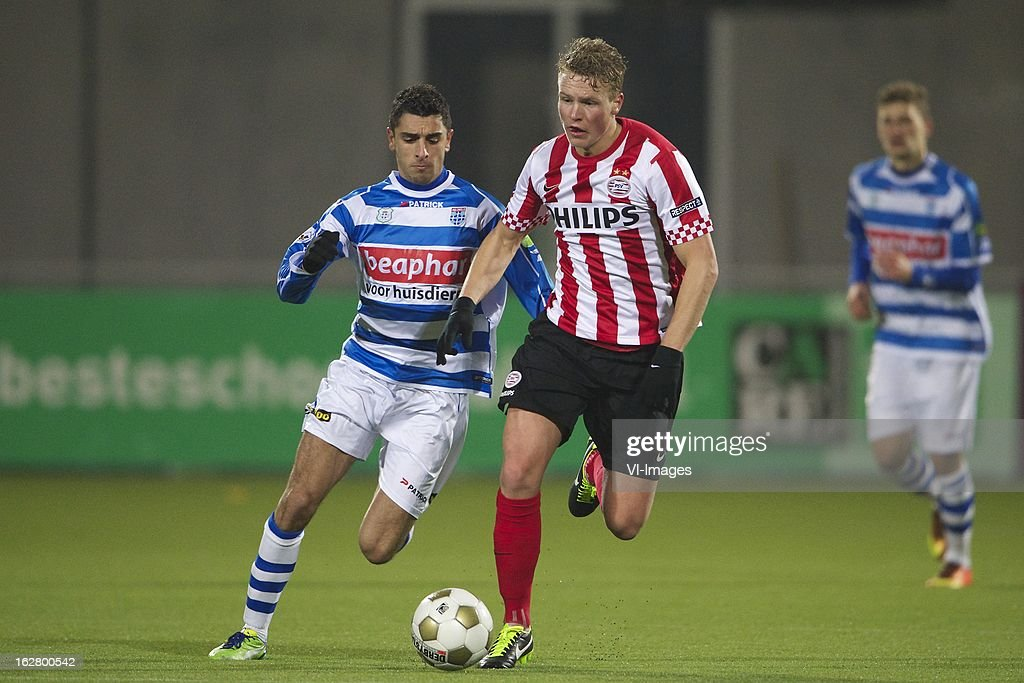 Youness Mokhtar of PEC Zwolle, Oscar Hiljemark of PSV during the Dutch Cup match between PEC Zwolle and PSV Eindhoven at the IJsseldelta Stadium on february 27, 2013 in Zwolle, The Netherlands
