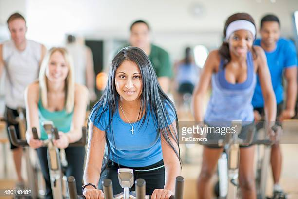 Young Adult Bicycle Spinning Exercise Class