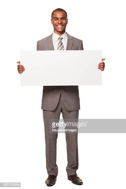 Jovem Adulto empresário com sinal em branco. Isolado.