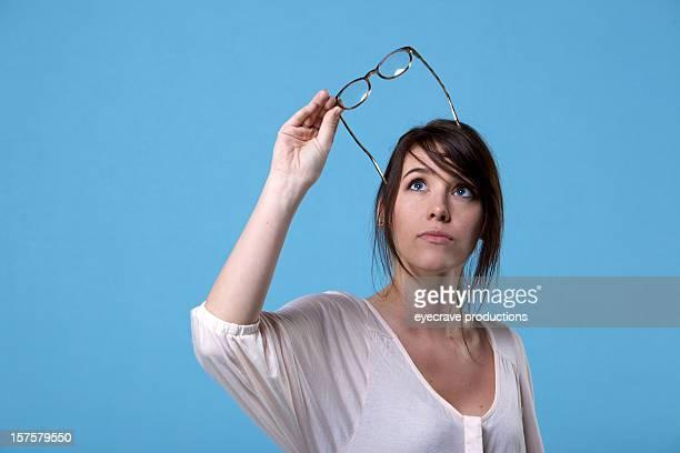 Junge Erwachsene weibliche und eyeglasses