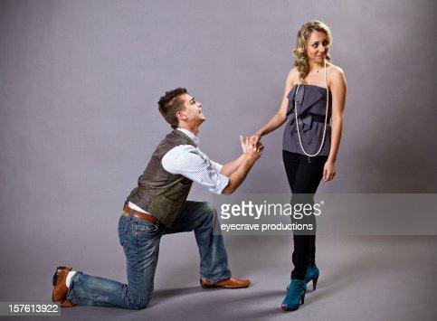 young adult heterosexual couple relationship proposal