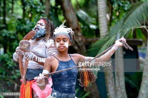 Young Adult Indigenous Australian Woman Dancing : Stock Photo