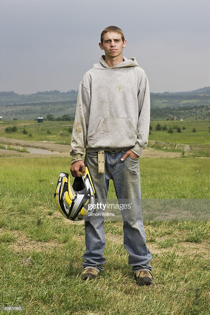 Young adult with helmet : Foto de stock