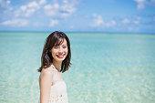 Japanese woman enjoy the sea of Guam