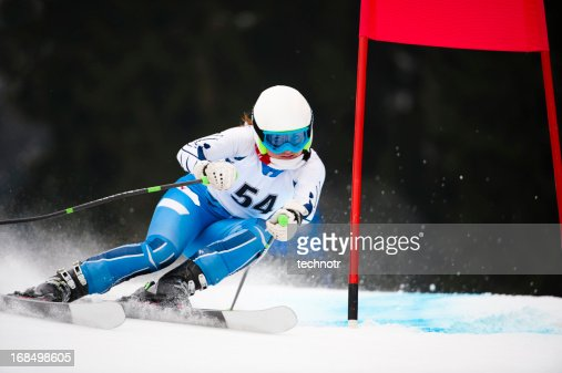 Young adult women at giant slalom race