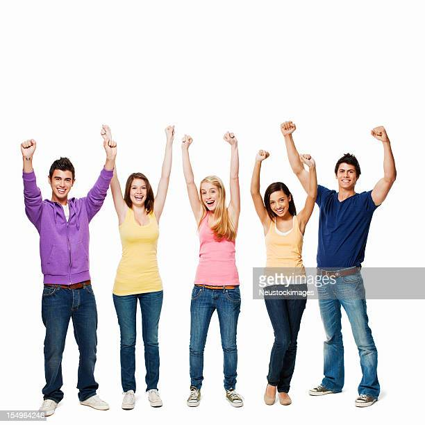 Young Adults Cheering - Isolated
