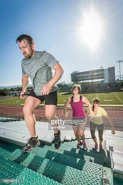 Young Adults Running Stairlaps