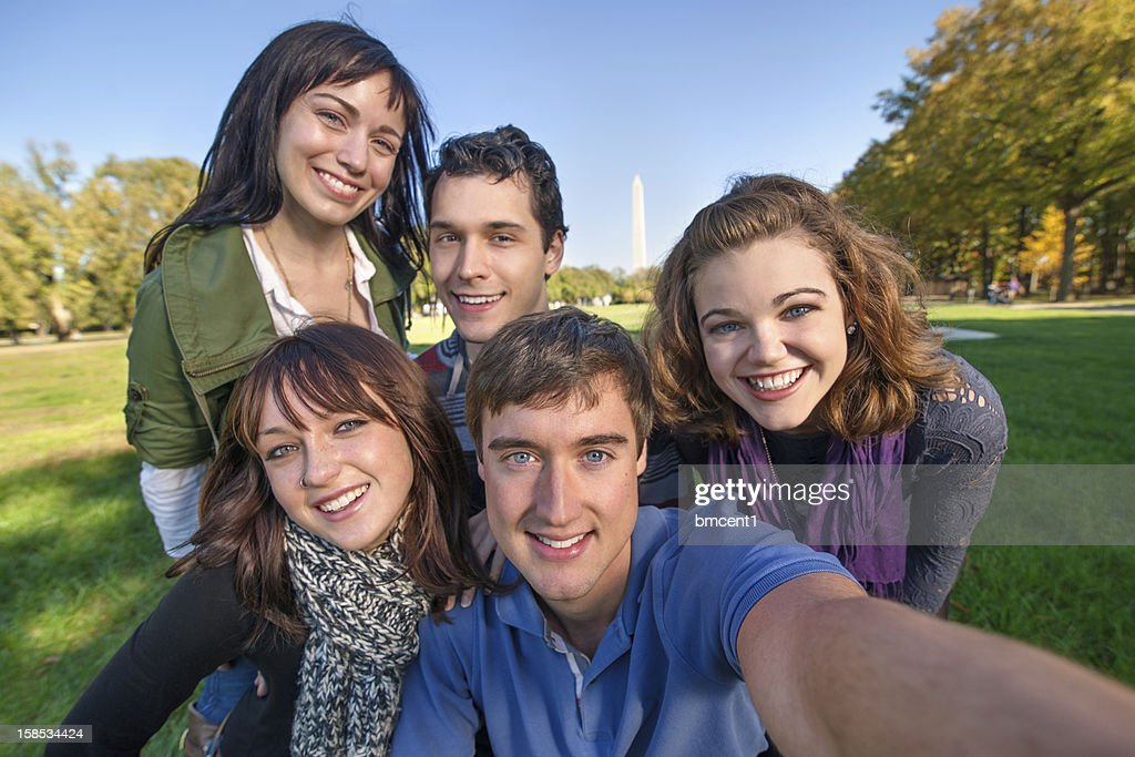 Young adults take touristy self portrait in Washington, DC