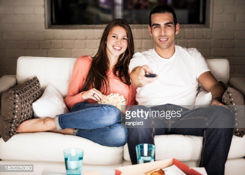 Young Adults Watching TV