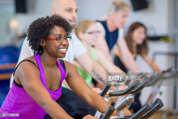 Young Adults Working Out at Spin Class