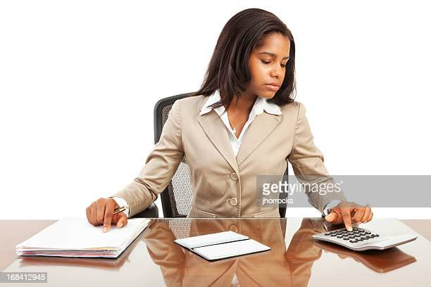 Young African American Businesswoman Paying Bills