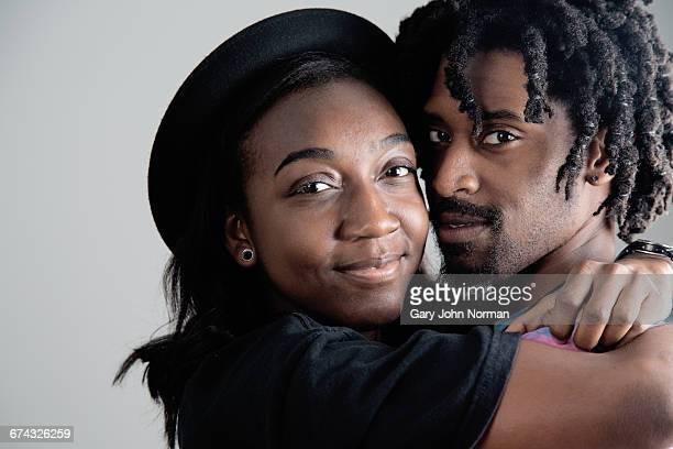 Young African American couple, studio shot