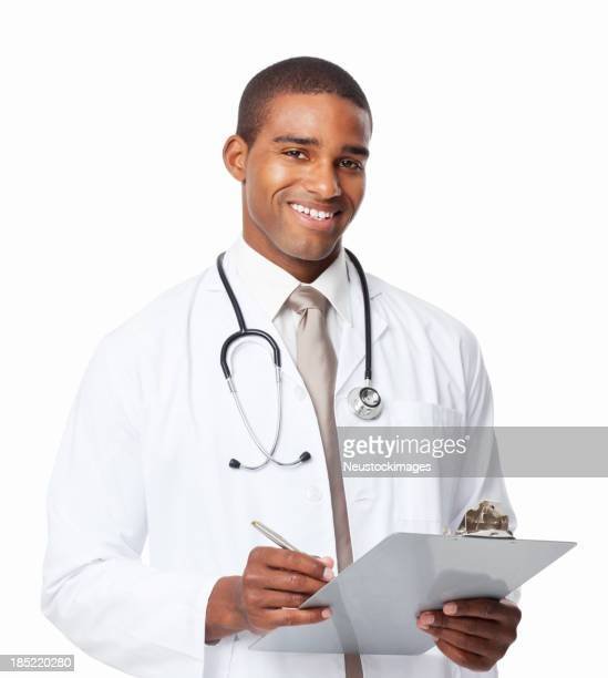 Young African American Doctor With Medical Chart - Isolated