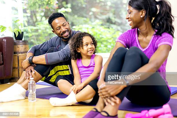 Young African American family talking