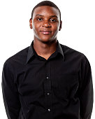 Young African American male with a black shirt