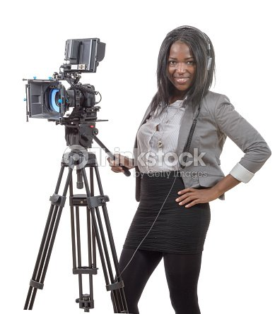 Young African American Women With Professional Video Camera And ... 5d3e89bd31