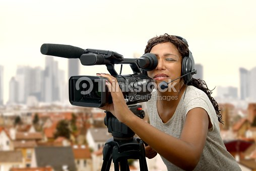 young African American women with professional video camera   Stock Photo fdcc5b709c
