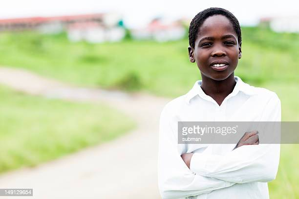 Young African child with school clothes