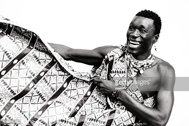 Young African Man in Traditional Dress, Black and White