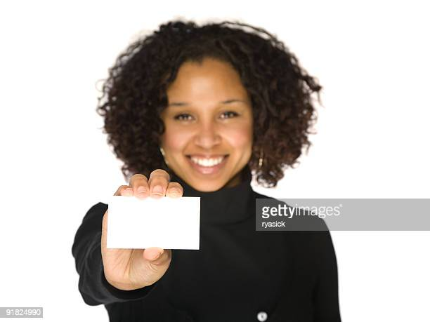 Young African-American Woman Holding Blank Business Card Isolated on White