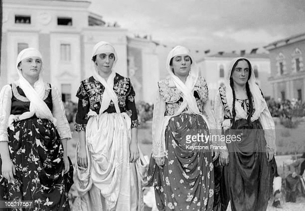 Young Albanian Women Dressed In Traditional Holiday Dress In Tirana On April 8 1939