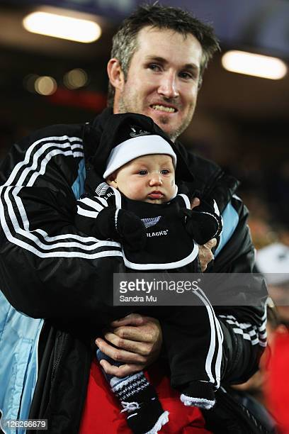 A young All Blacks fan is seen ahead of the IRB 2011 Rugby World Cup Pool A match between New Zealand and France at Eden Park on September 24 2011 in...