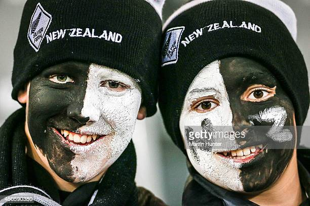 Young All Blacks fans enjoy the prematch atmosphere during the International Test Match between the New Zealand All Blacks and England at Forsyth...