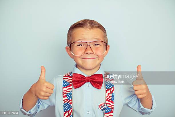Young American Boy Thumbs up to Election Day