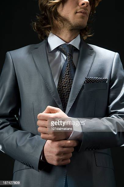 Young and elegance man with gray suit