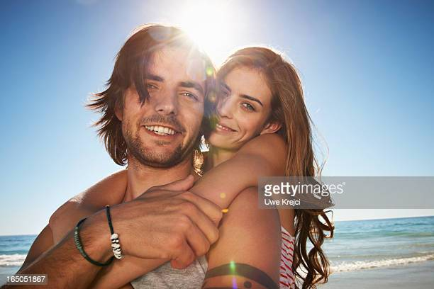 A young and happy couple on beach