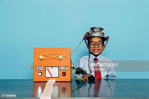 Young and Honest Businessman with Lie Detector