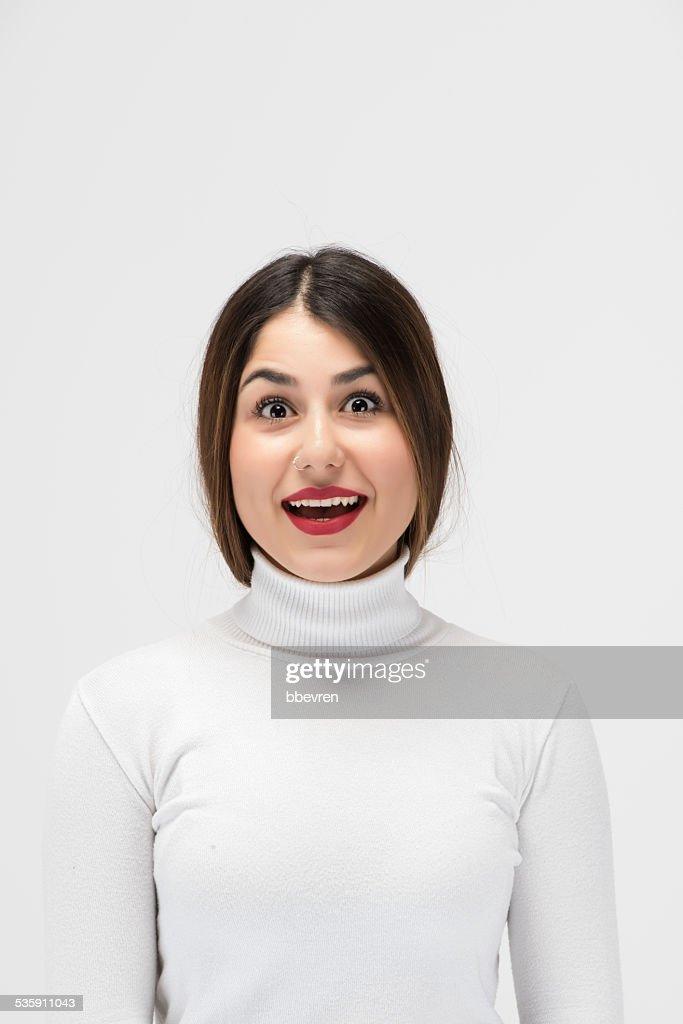 Junge und positive Mädchen mit schockiert Gesichtsausdruck begeistert : Stock-Foto