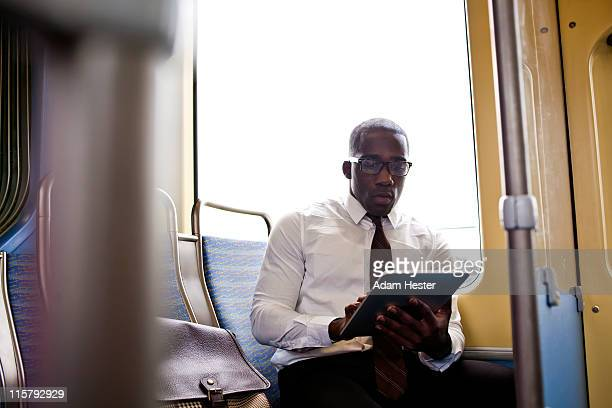 A young and professional businessman in transit.