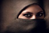 Young arabian woman in hijab. Yashmak.