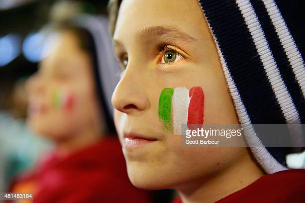 A young AS Roma supporter watches his team during the International Champions Cup match between Manchester City and AS Roma at the Melbourne Cricket...