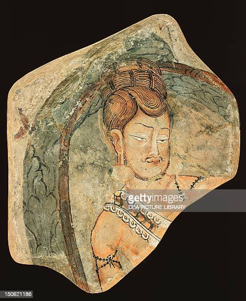 Young ascetic in a hut of leaves mural painting from the Navigators of Kizil Cave Xinjiang China 425x355 cm Chinese Civilisation 6th7th century