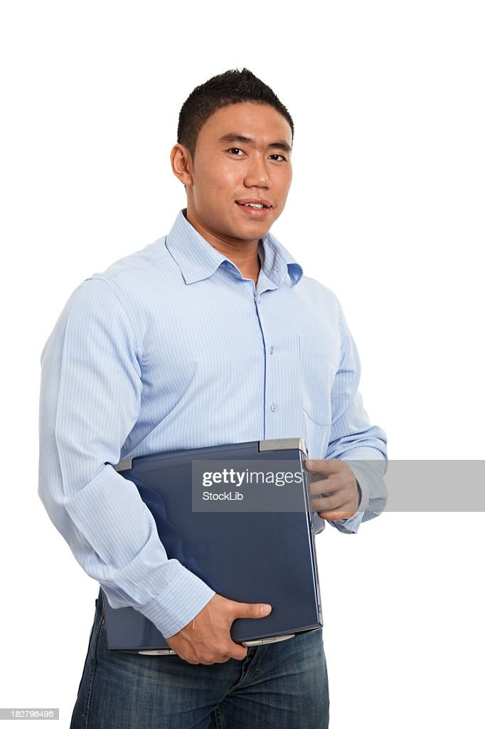 Young asian businessman with laptop