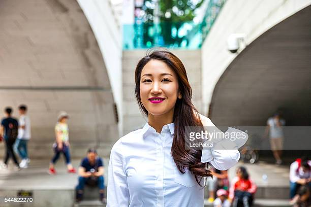 Young asian businesswoman in Seoul downtown