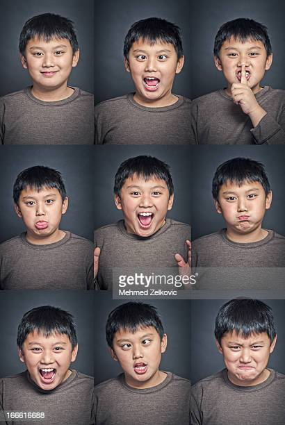 Young Asian Kid Face Expression set