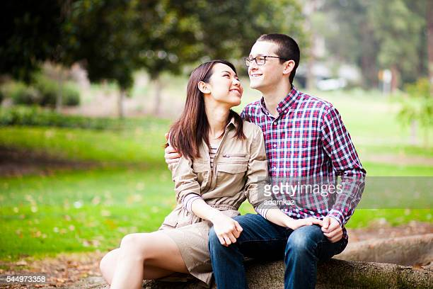 Young Asian Woman and Caucasian Man Couple