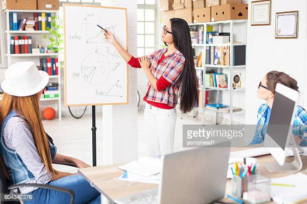 Young asian woman making presentation at workplace
