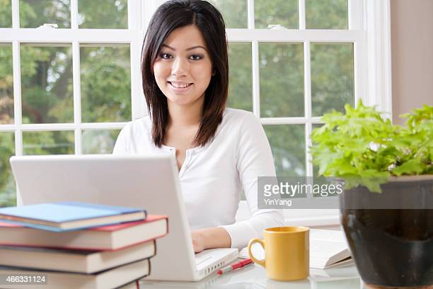 Young Asian Woman University Student Studying, Working in Room, Office