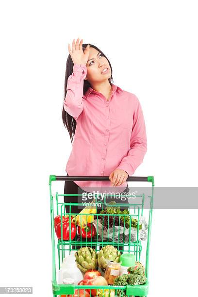 Young Asian Woman with Grocery Cart Worrying About Dinner Menu