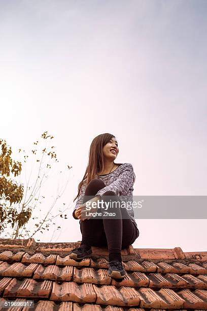 Young Asian women on the roof