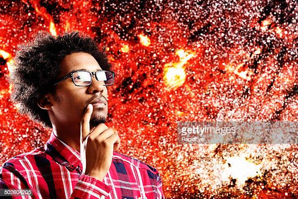 Young astrophysicist gazing in awe at our galaxy